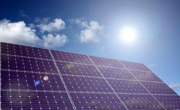 El panel de energía solar en luz del sol stock de ilustración