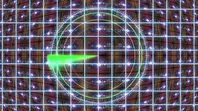 El panel de HUD con una rejilla del radar y un fondo móvil Gráficos del movimiento libre illustration