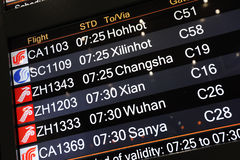 El panel de información del vuelo Imágenes de archivo libres de regalías