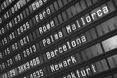 El panel de información del vuelo Foto de archivo