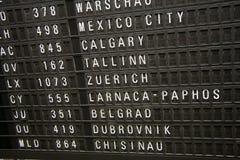 El panel de información del vuelo Imagen de archivo