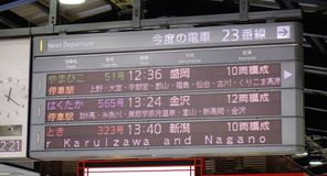 El panel de información eléctrico del tren de Shinkansen fotos de archivo