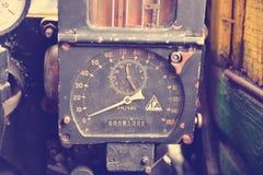 El panel de la cabina del motor del tren del vapor Foto de archivo