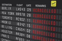 El panel de la cartelera del aeropuerto con vuelos cancelados foto de archivo