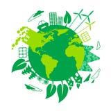 El panel de la energía solar de la turbina de viento del globo de Eco de la tierra verde Foto de archivo libre de regalías