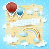 El panel de la fantasía con los globos del aire caliente y el espacio de la copia ilustración del vector
