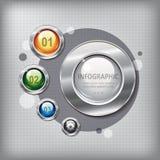 El panel de la presentación con los botones brillantes Fotos de archivo libres de regalías