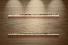 El panel de madera de la demostración de Brown con el fondo de la iluminación Foto de archivo