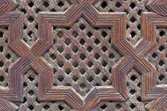 El panel de madera tallado marroquí tradicional Foto de archivo