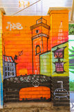 El panel del arte de la calle de los artistas de la pintada en la parada Rusalka Dnestr de la tranvía Imágenes de archivo libres de regalías