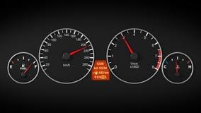 El panel del tablero de la rociada del coche con el velocímetro y el tacómetro Encender el motor ilustración del vector
