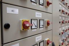 El panel eléctrico de los cubículos Imágenes de archivo libres de regalías