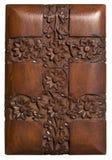 El panel floral decorativo de madera tallado Fotografía de archivo