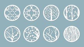 El panel para el registro de las superficies decorativas Círculos abstractos, bolas Ejemplo del vector de un corte del laser Cutt stock de ilustración
