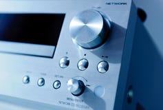 El panel potente del lector de cd del amplificador con final cepillado del metal Imagen de archivo