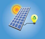 El panel solar aislado con vector del sol y de la bombilla stock de ilustración