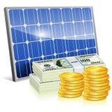 El panel solar con el dinero Imagen de archivo libre de regalías