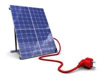 El panel solar con el enchufe de potencia Fotos de archivo
