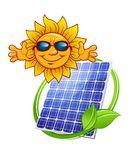 El panel solar con el sol de la historieta Fotografía de archivo
