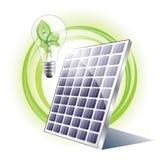 El panel solar y bombilla del eco Foto de archivo libre de regalías