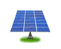El panel solar con la hierba verde Foto de archivo libre de regalías