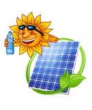 El panel solar de la historieta con el sol Foto de archivo libre de regalías