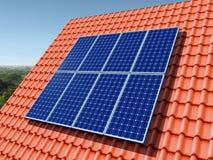 El panel solar en una azotea Imágenes de archivo libres de regalías