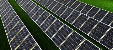 El panel solar produce energía verde, respetuosa del medio ambiente del sol representación 3d Imagen de archivo