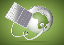 El panel solar suministra poder del sol a África Concepto para g Foto de archivo
