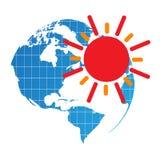 El panel solar - vector el ejemplo con el sol y el globo Fotografía de archivo libre de regalías