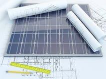 El panel solar y dibujo Stock de ilustración