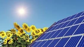 El panel solar y girasoles Foto de archivo libre de regalías