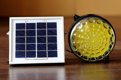 El panel solar y luz Imágenes de archivo libres de regalías