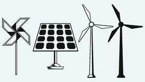 El panel solar y molino de viento Foto de archivo