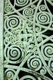 El panel verde de la puerta de la pátina Imágenes de archivo libres de regalías