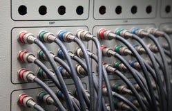 El panel video componente de la conexión de cables Fotos de archivo