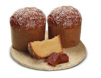 El panettone con la guayaba dulce es el postre italiano tradicional FO fotografía de archivo