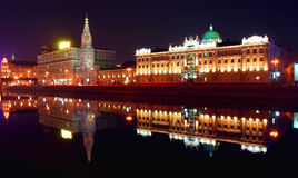 El panorama de la ciudad de Moscú en la noche Imágenes de archivo libres de regalías