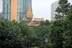 El panorama del templo jingan de Shangai Fotos de archivo libres de regalías