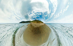 El panorama estereográfico del lago Baikal de la playa oscila Fotos de archivo