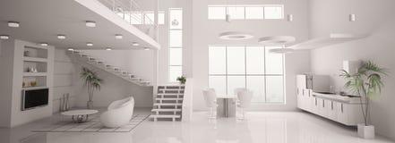 El panorama interior moderno blanco 3d rinde Fotos de archivo