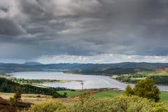 El panorama muestra el extremo del brazo de mar de Dornoch, Escocia Imagen de archivo libre de regalías