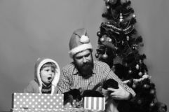El papá con la barba y el niño sostienen perros cerca del árbol de navidad imagenes de archivo