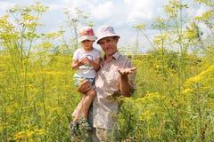 El papá divertido mantiene al hijo sus manos en la hierba alta fotografía de archivo