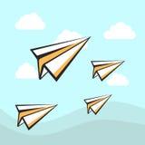 El papel acepilla el fondo de los iconos Cielo del vector con las nubes Fotos de archivo libres de regalías