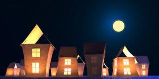 El papel aloja el ejemplo del paisaje 3D del invierno Imagen de archivo libre de regalías