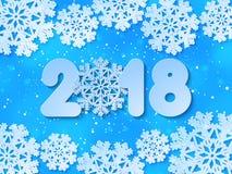 El papel azul de la Feliz Año Nuevo 2018 del vector cortó el fondo Fotos de archivo