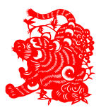 El papel chino cortó por el año del tigre de 2010 Imágenes de archivo libres de regalías