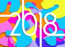 El papel colorido de la Feliz Año Nuevo 2018 cortó la tarjeta ilustración del vector
