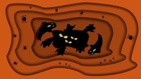 El papel cortó el fondo de Halloween del vector del estilo con el hoyo oscuro con los fantasmas y Spidershouse, papel moderno cor libre illustration